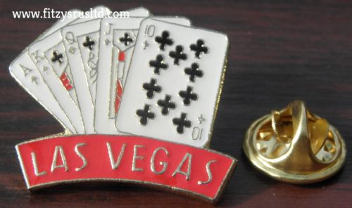 Las Vegas Cards Gambler Lapel / Hat / Cap / Tie Pin Badge - Brooch - Poker - New